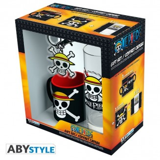 "ONE PIECE - Pck Verre 29cl + Keyring + Mini Mug ""Skull Luffy"""