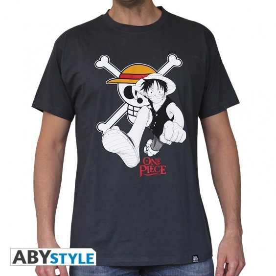 """ONE PIECE - Tshirt """"Luffy & Emblem"""" homme MC dark grey"""
