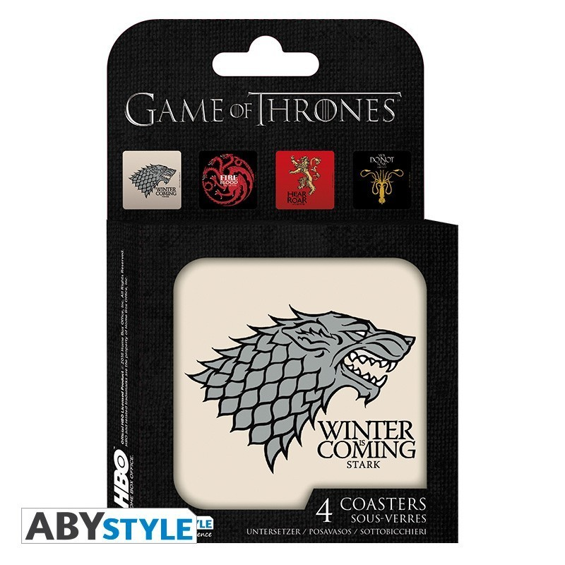 "GAME OF THRONES - Set 4 Dessous de verre ""Maisons"""