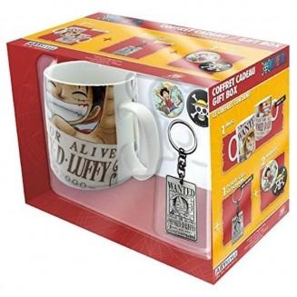 "ONE PIECE - Pck Mug + Porte-clés + Badges ""Wanted"""