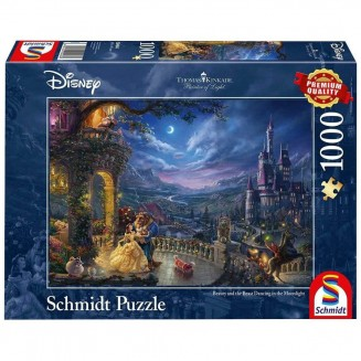 Puzzle Disney - Beauty and the Beast Dancing in the Moonlight - Thomas Kinkad - 1000