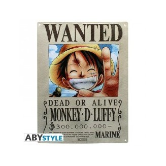 "ONE PIECE - Plaque métal ""Luffy Wanted"" (28x38)"