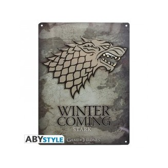 "GAME OF THRONES - Plaque métal ""Stark"" (28x38) Broch."
