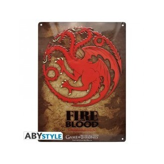 "GAME OF THRONES - Plaque métal ""Targaryen"" (28x38)"