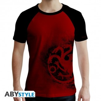 "GAME OF THRONES - Tshirt ""Targaryen"" homme MC rouge & noir"